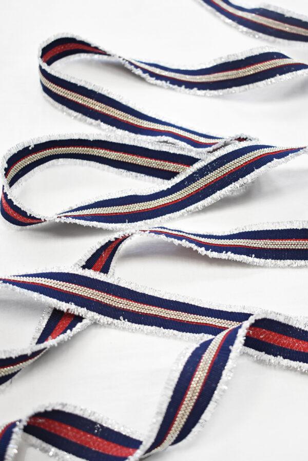 Репсовая лента в синюю с красным полоску и цепочками (t0786) т-24 - Фото 6