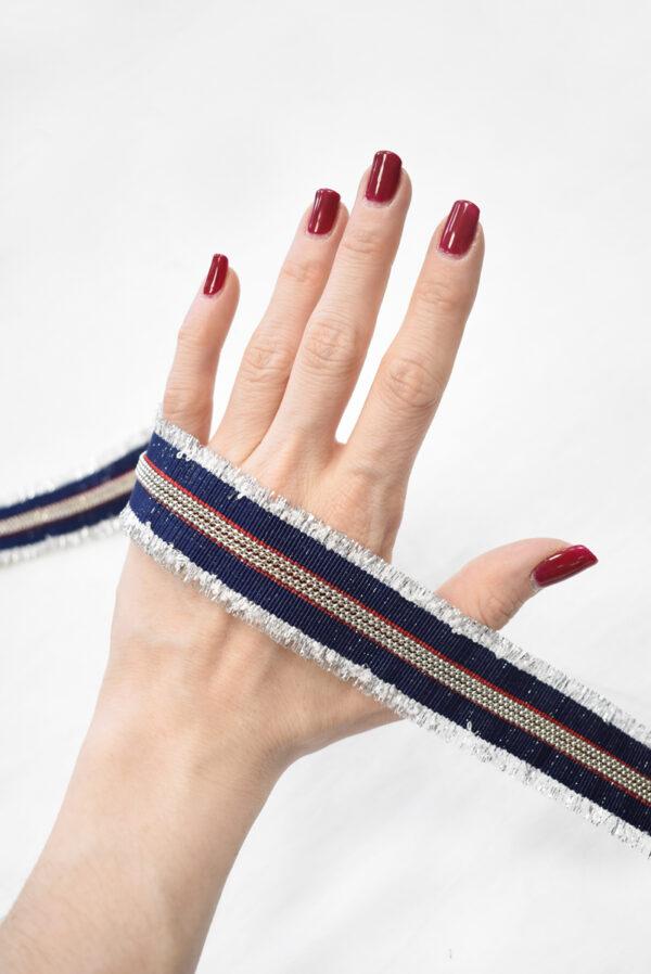 Репсовая лента в синюю с красным полоску и цепочками (t0786) т-24 - Фото 8