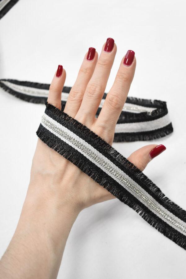 Тесьма с черной бахромой цепью и стразами (t0787) т-24 - Фото 8