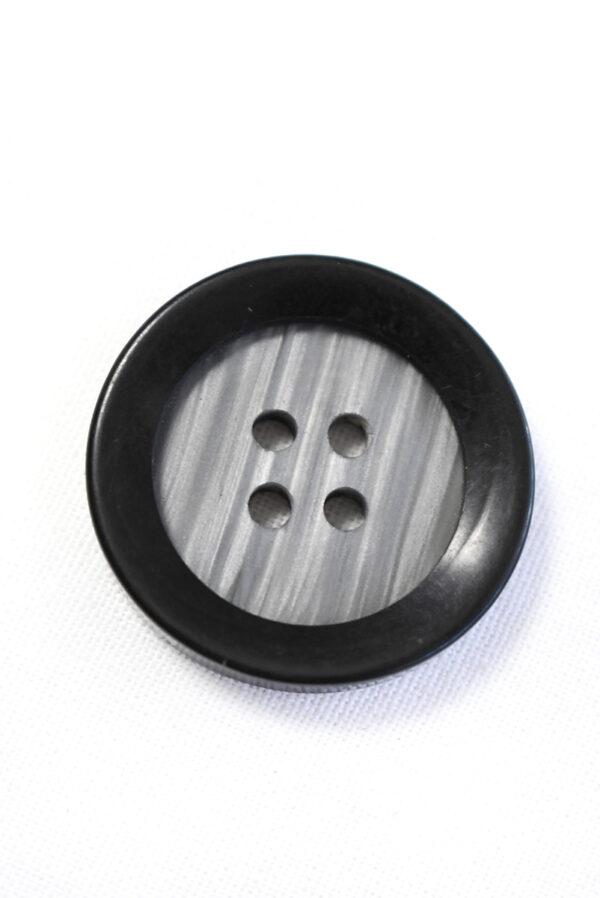Пуговица большая пластик серого цвета с черным ободком (р1204) - Фото 6