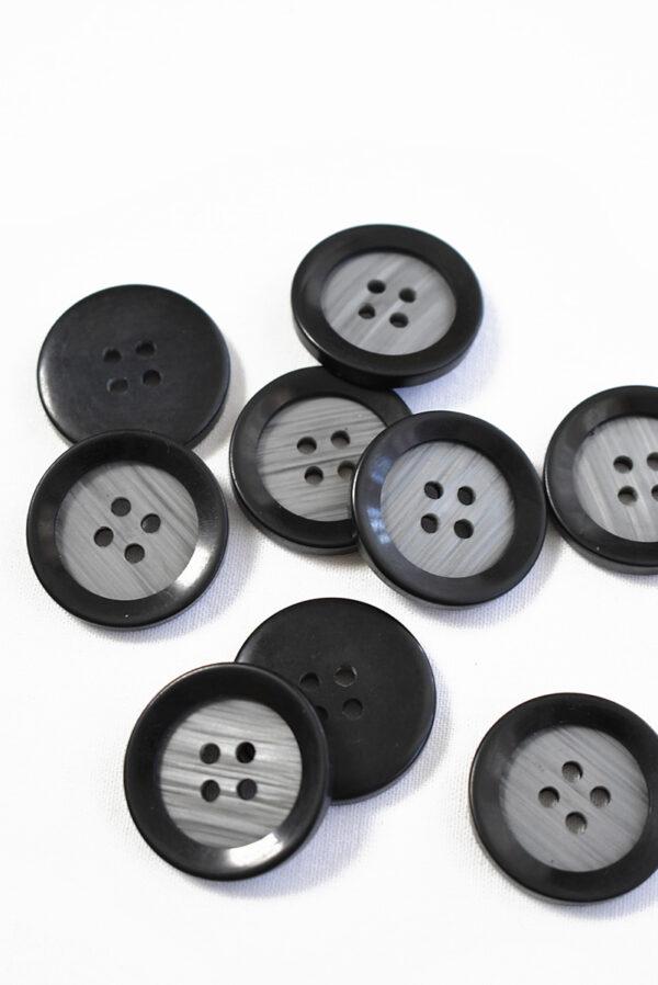 Пуговица большая пластик серого цвета с черным ободком (р1204) - Фото 8