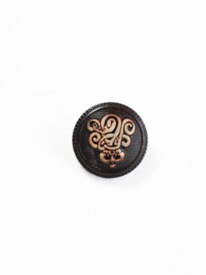 Пуговица маленькая коричневая с вензелем (р1211) - Фото 16