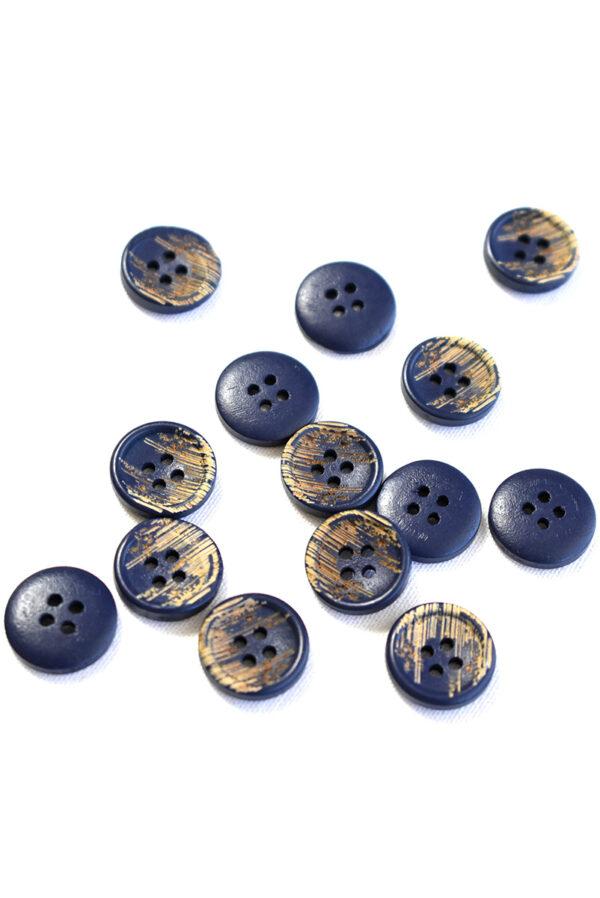 Пуговица пластик темно-синяя с бежевыми вкраплениями (р1215) - Фото 7