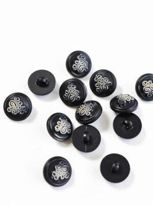 Пуговица маленькая черная с вензелем (р1223) - Фото 14