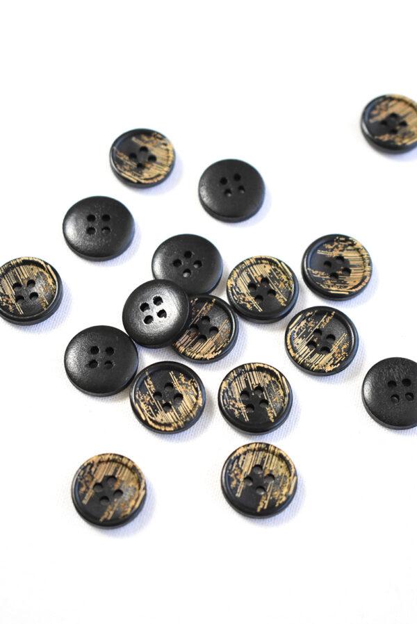 Пуговица пластик черная с бежевыми вкраплениями (р1226) - Фото 8