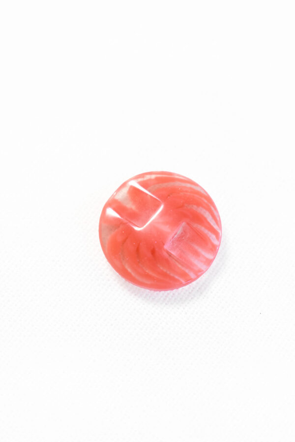 Пуговица пластик коралловая полупрозрачная с мелким цветочком (р1229) - Фото 8