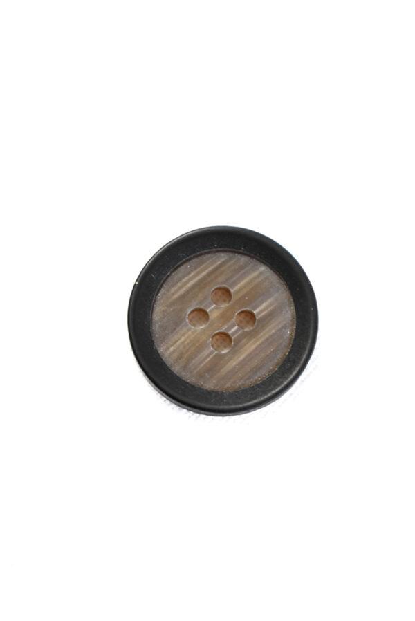 Пуговица маленькая пластик коричневая с черным ободком (р1234) - Фото 6