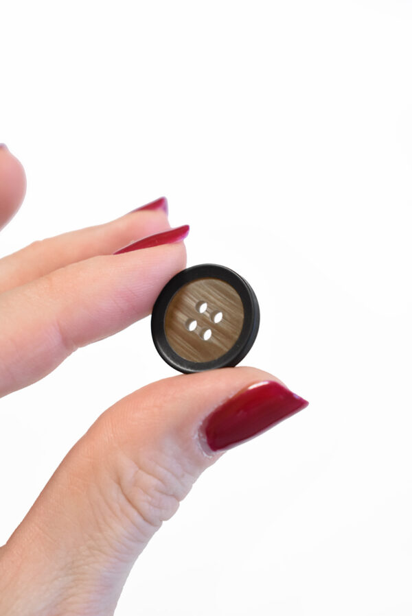Пуговица маленькая пластик коричневая с черным ободком (р1234) - Фото 9