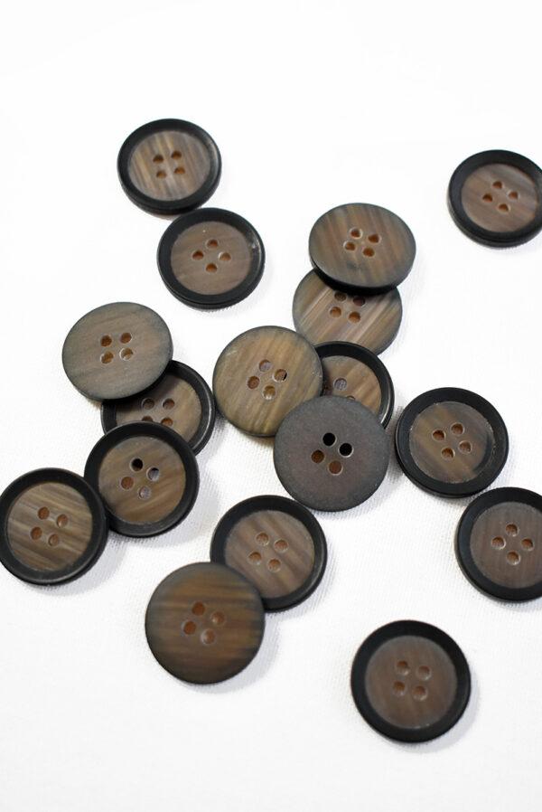 Пуговица маленькая пластик коричневая с черным ободком (р1234) - Фото 8