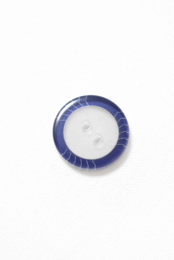 Пуговица прозрачная с синим ободком на два прокола (р1237) - Фото 8