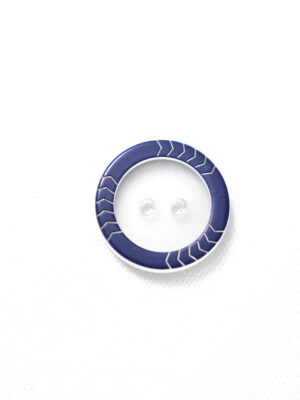 Пуговица прозрачная с синим ободком на два прокола (р1237) - Фото 14