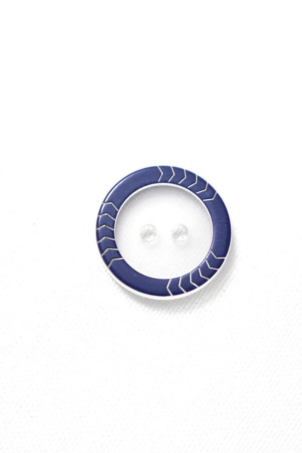 Пуговица прозрачная с синим ободком на два прокола (р1237) - Фото 6