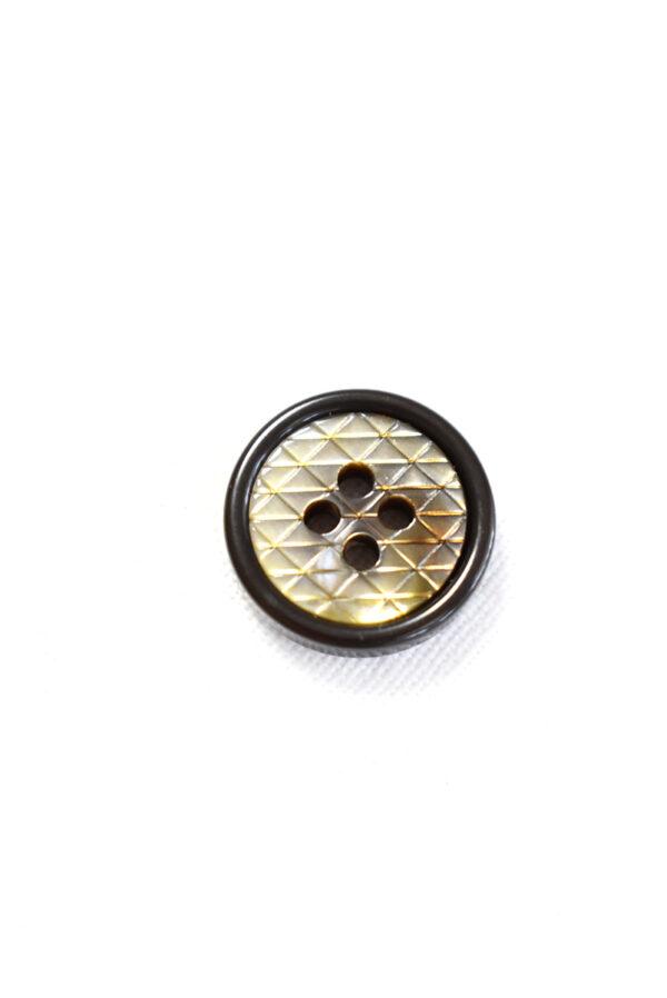 Пуговица пластик черная в мелкий ромбик с окантовкой (р1241) - Фото 6