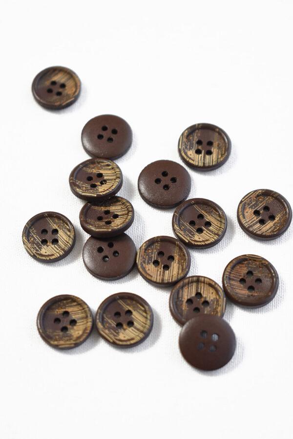 Пуговица пластик коричневая с бежевыми вкраплениями (р1275) - Фото 8