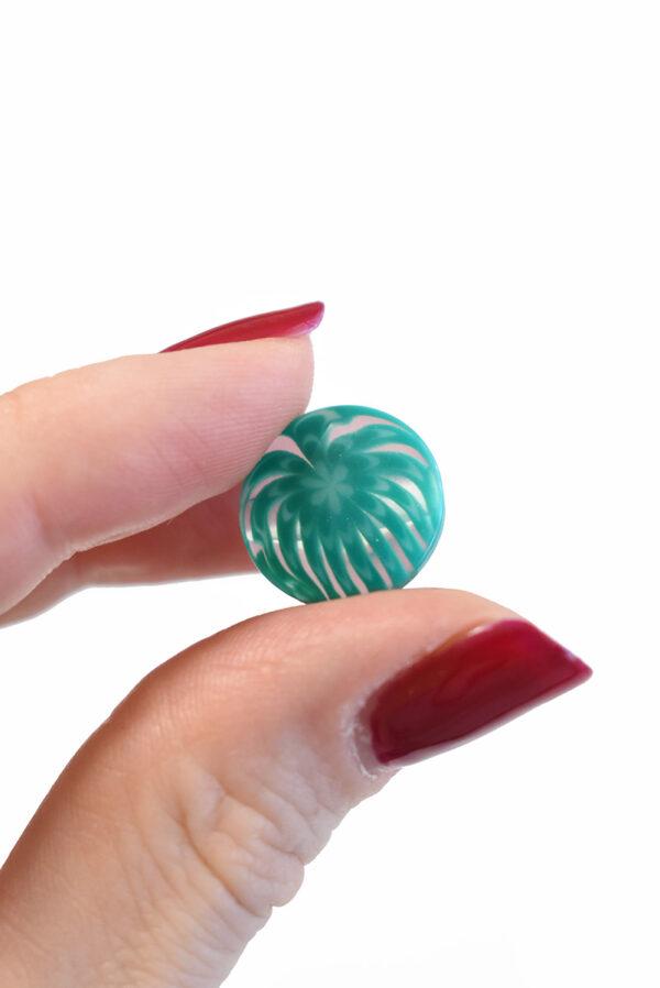 Пуговица пластик бирюзовая полупрозрачная с мелким цветочком (р1283) - Фото 9