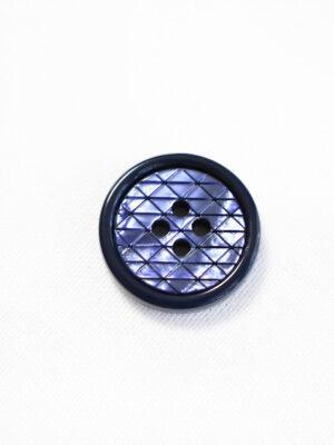 Пуговица пластик на прокол синяя в мелкий ромбик с окантовкой (р1287) - Фото 13