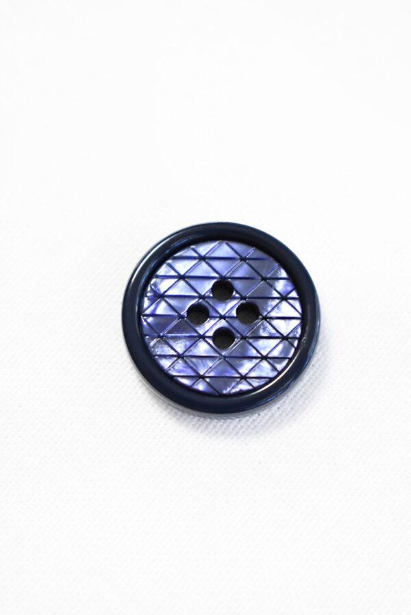 Пуговица пластик на прокол синяя в мелкий ромбик с окантовкой (р1287) - Фото 6