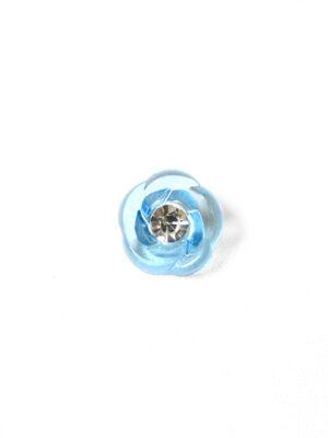 Пуговица голубая в виде цветочка с кристалликом (р1293) - Фото 10