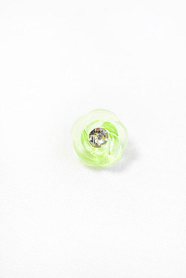 Пуговица салатовая в виде цветочка с кристалликом (р1294) - Фото 6