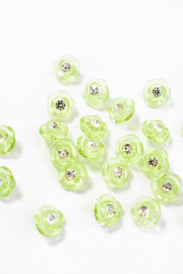 Пуговица салатовая в виде цветочка с кристалликом (р1294) - Фото 8