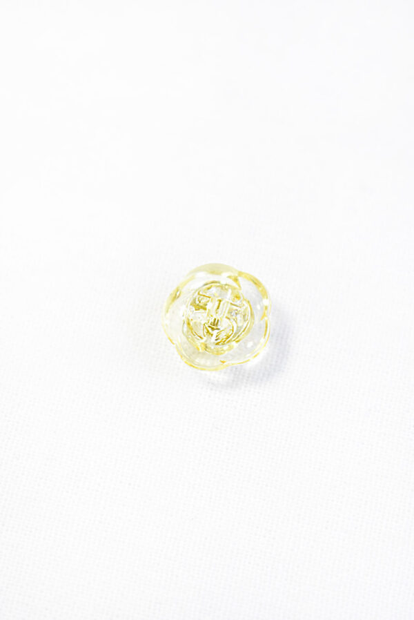 Пуговица светло-желтая в виде цветочка с кристалликом (р1295) - Фото 8