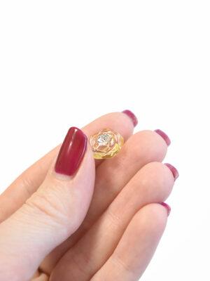 Пуговица светло-желтая в виде цветочка с кристалликом (р1295) - Фото 17