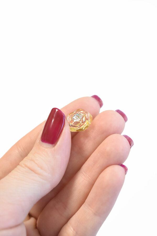 Пуговица светло-желтая в виде цветочка с кристалликом (р1295) - Фото 7