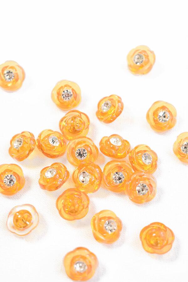 Пуговица оранжевая в виде цветочка с кристалликом (р1311) - Фото 8