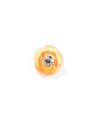 Пуговица оранжевая в виде цветочка с кристалликом (р1311) - Фото 17
