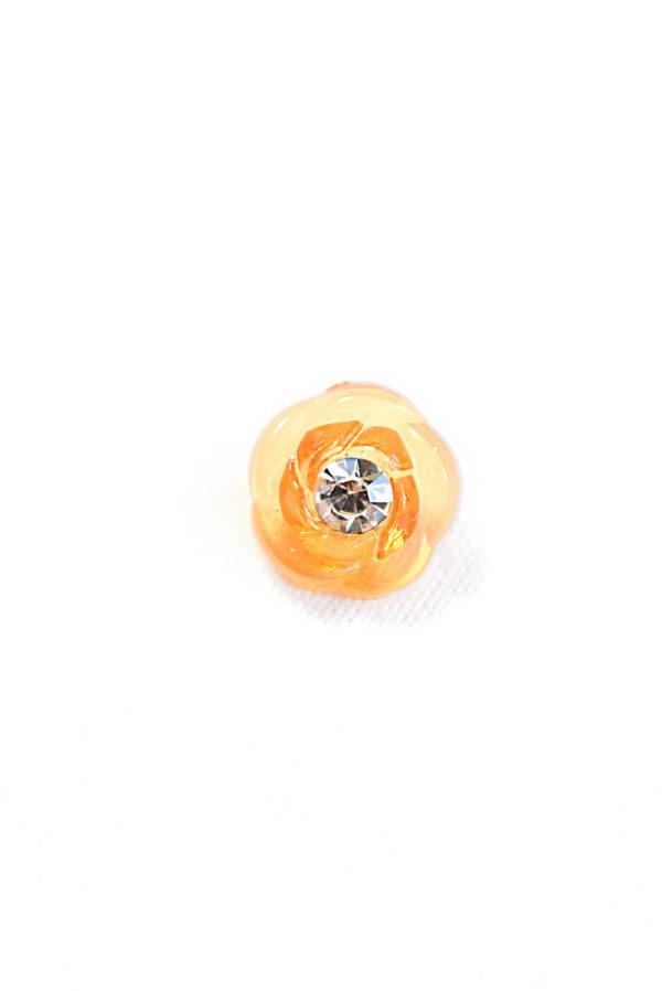 Пуговица оранжевая в виде цветочка с кристалликом (р1311) - Фото 6