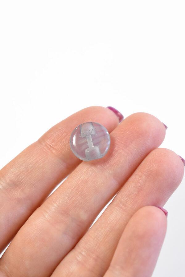 Пуговица пластик светло-серая полупрозрачная с люрексом (р1326) - Фото 9