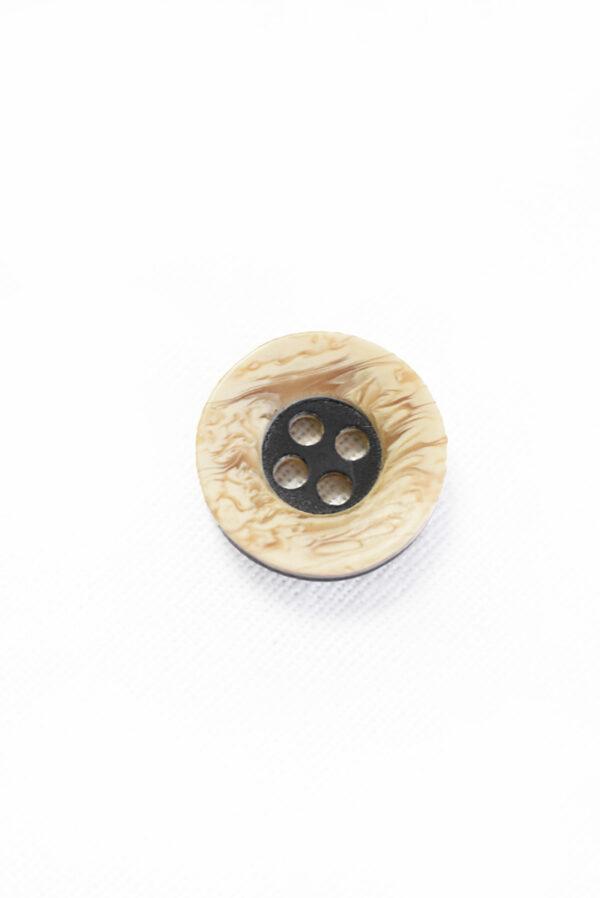 Пуговица маленькая пластик беж с черной серединкой (р1331) - Фото 6