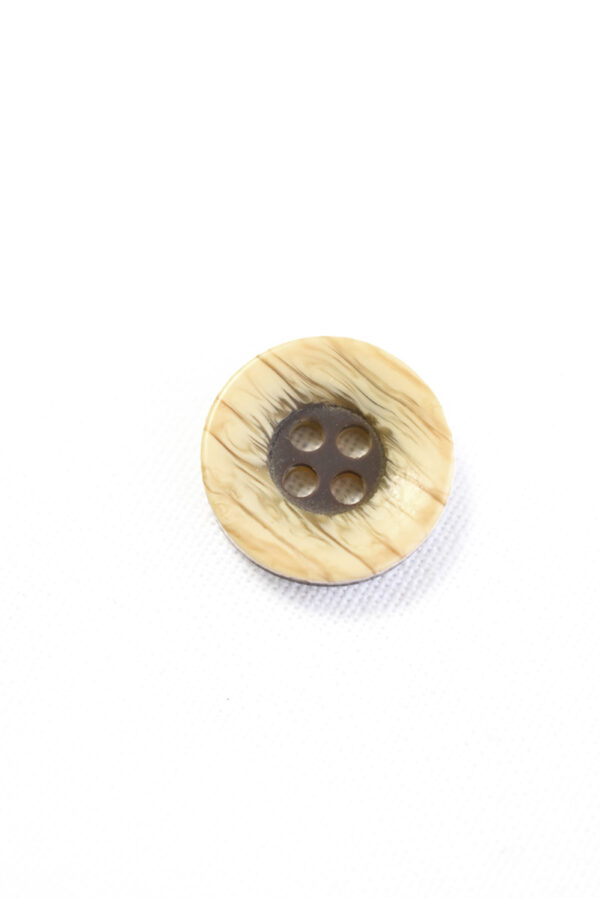 Пуговица пластик беж с коричневой серединкой (р1332) - Фото 6