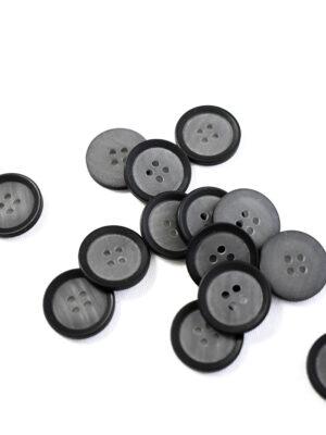 Пуговица маленькая пластик серая с черным ободком (р1337) - Фото 11