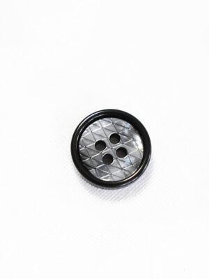 Пуговица пластик на прокол серая в мелкий ромбик с черной окантовкой (р1340) - Фото 12