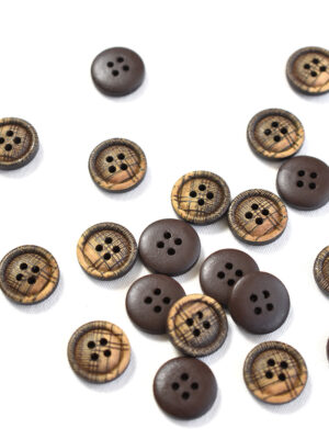 Пуговица пластик коричневая в бежевую клетку (р1344) - Фото 23