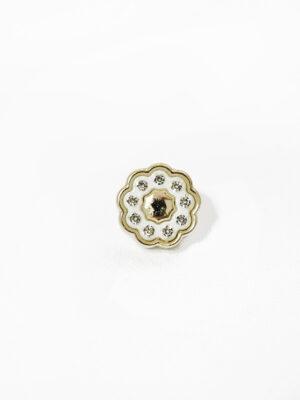 Пуговица светлое золото цветочек с мелкими кристаллами (р1373) - Фото 10