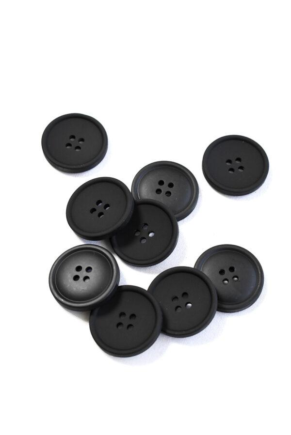 Пуговица пластик черная на прокол матовая (р1385) - Фото 9