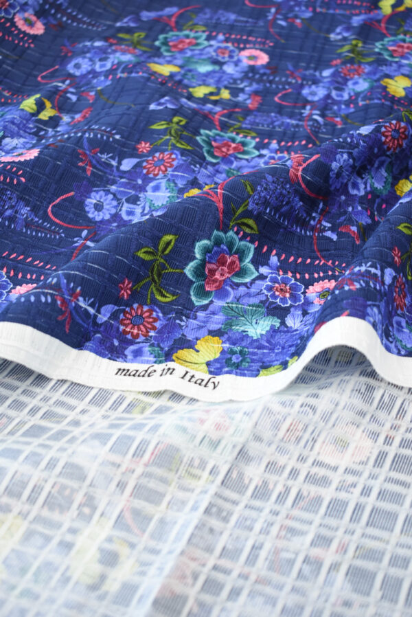 Матлассе синего оттенка с цветами (9294) - Фото 8