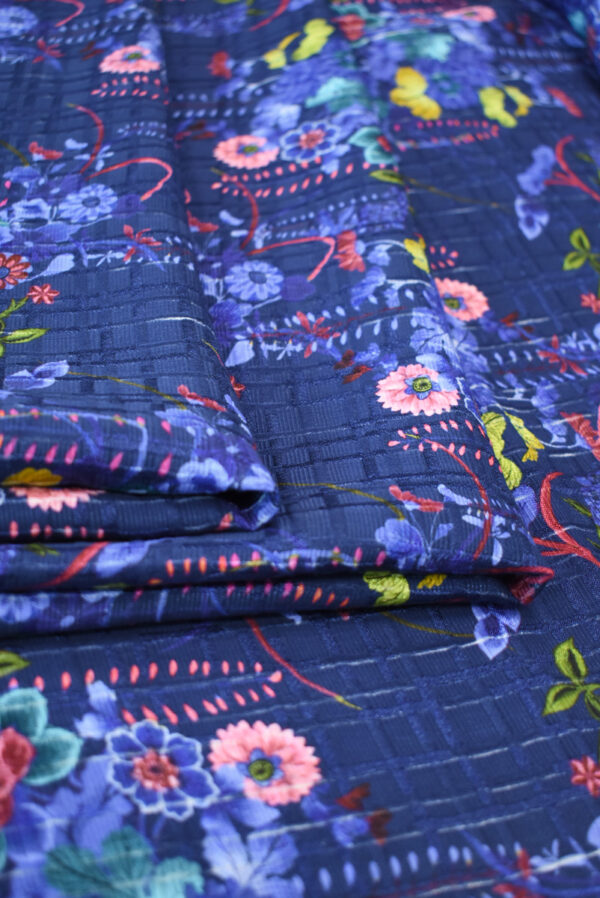 Матлассе синего оттенка с цветами (9294) - Фото 9
