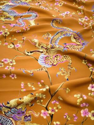 Шерсть плательная терракотового цвета с драконами и сакурой (9295) - Фото 16