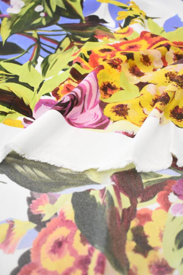 Кади стрейч с цветами на белом фоне (9299) - Фото 10