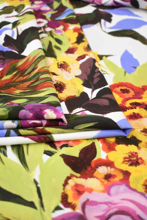 Кади стрейч с цветами на белом фоне (9299) - Фото 9