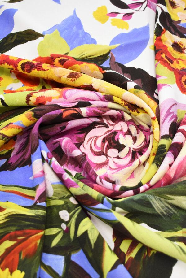 Кади стрейч с цветами на белом фоне (9299) - Фото 8