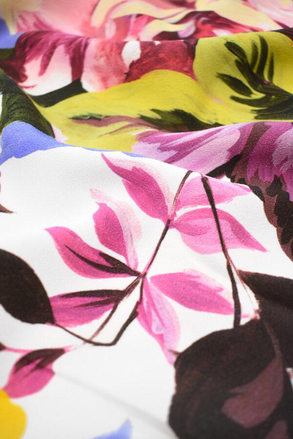 Кади стрейч с цветами на белом фоне (9299) - Фото 11