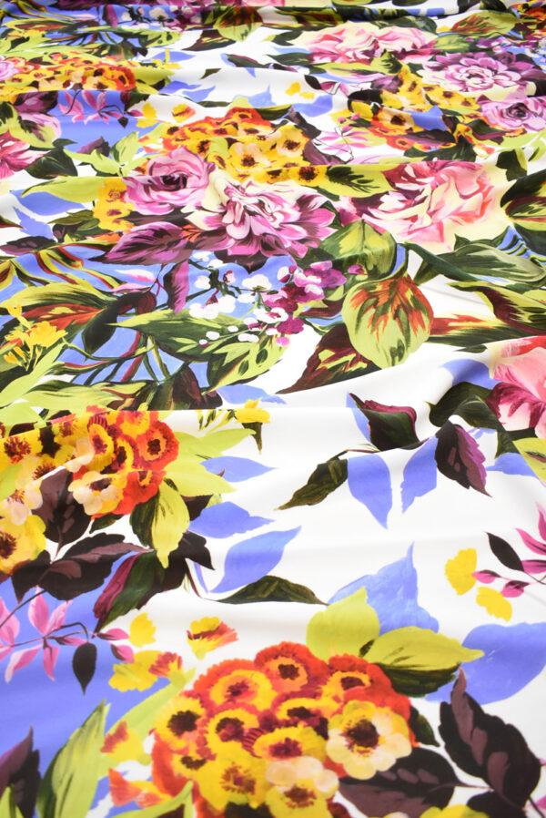 Кади стрейч с цветами на белом фоне (9299) - Фото 6