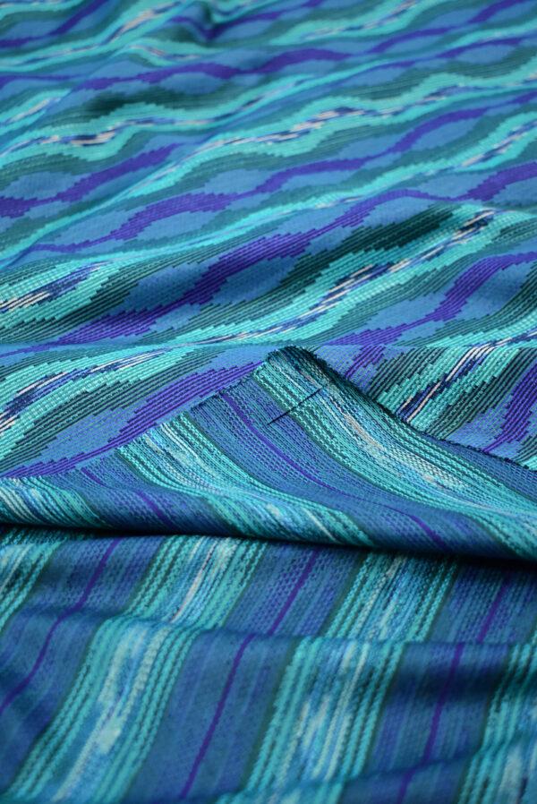 Трикотаж с волнообразным узором в бирюзовых и синих тонах (9317) - Фото 9