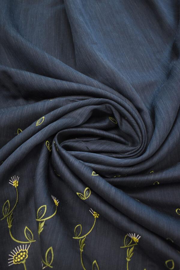 Шелк темно-синий с вышивкой (9323) - Фото 8