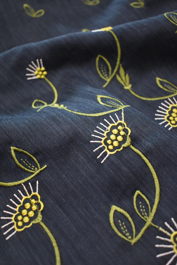Шелк темно-синий с вышивкой (9323) - Фото 11