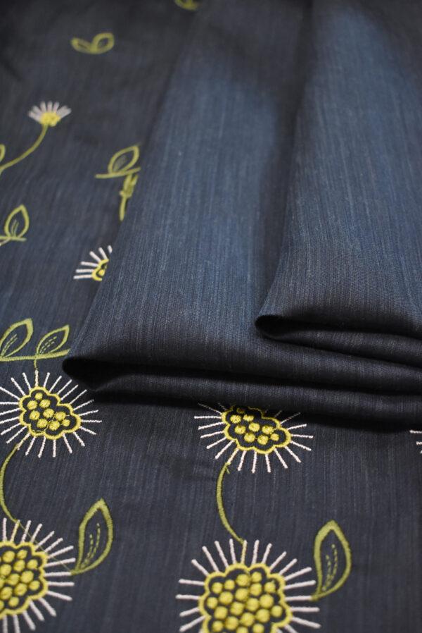 Шелк темно-синий с вышивкой (9323) - Фото 10